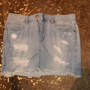 Express jean ripped skirt
